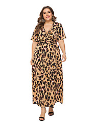 cheap -Women's Maxi Plus Size Camel Black Dress A Line Leopard V Neck Print Wrap XL XXL