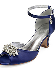 cheap -Women's Wedding Shoes Chunky Heel Peep Toe Rhinestone / Sparkling Glitter Satin Vintage / Sweet Spring / Spring & Summer Black / White / Purple / Party & Evening