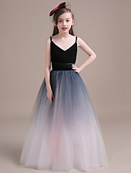 cheap -Ball Gown Floor Length Flower Girl Dress - Polyester Sleeveless Spaghetti Strap with Tiered