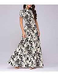 cheap -Women's Maxi Blushing Pink Black Dress Basic Swing Floral Print S M Slim