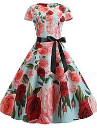 cheap -Women's Vintage Sheath Dress - Floral Print White Light Green L XL XXL
