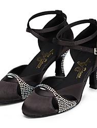 cheap -Women's Modern Shoes / Ballroom Shoes Satin Cross Strap Heel Rhinestone / Crystal / Rhinestone Flared Heel Customizable Dance Shoes Black / Performance