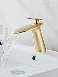 cheap -Faucet Set - Waterfall Brushed / Rose Gold Centerset Single Handle One HoleBath Taps