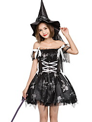 cheap -Witch Costume Women's Fairytale Theme Halloween Performance Cosplay Costumes Theme Party Costumes Women's Dance Costumes Polyester Lace-up