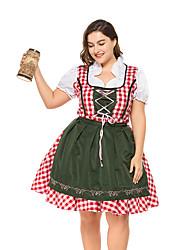 Недорогие -Октоберфест Широкая юбка в сборку Trachtenkleider Жен. Платье баварский Костюм Военно-зеленный