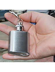 cheap -Portable Mini Tiny Stainless Steel Hip Flask Stylish Wine Bottle Flagon with Key Ring