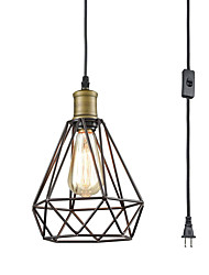 cheap -Pendant Lights  Plug-in Adjustable Wire Caged Hanging Light Oil Rubbed Bronze Pendant Light Fixture Art Hanging Light Height Adjustable