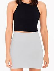 cheap -Women's Mini Bodycon Skirts - Solid Colored Black Wine White S M L / Slim