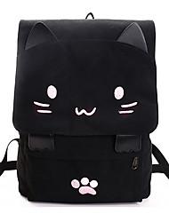 cheap -Large Capacity Canvas Zipper School Bag Animal Daily Black / Fall & Winter