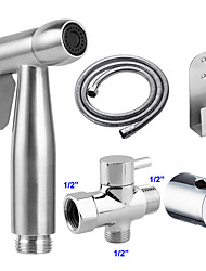 cheap -G1/2 Stainless Steel Toilet Handheld Shattaf  Set Bidet Sprayer Shower Head Balcony Cleaning Accessories Shower Faucet Muslim Shower Head
