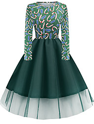 cheap -Women's A-Line Dress Knee Length Dress Long Sleeve Print Lace Patchwork Print Fall Winter Casual Christmas Halloween 2021 Black Blue Red Army Green Green S M L XL XXL 3XL 4XL 5XL