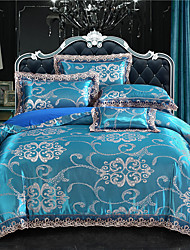 cheap -Duvet Cover Sets Damask Polyester / Viscose Jacquard 4 PieceBedding Sets