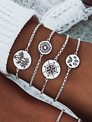 cheap -4pcs Women's Pendant Bracelet Layered Sunflower Coconut Tree Simple Casual / Sporty Fashion Alloy Bracelet Jewelry Silver For Daily Holiday Festival