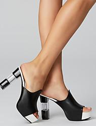 cheap -Women's Sandals Chunky Heel PU Comfort Summer Black / White / Red