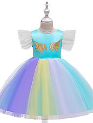 cheap -Kids Girls' Active Cute Unicorn Color Block Rainbow Bow Mesh Short Sleeve Knee-length Dress Purple