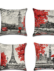 cheap -1 pcs Linen Pillow Cover, Graphic Prints Contemporary Lovers Fashion Throw Pillow