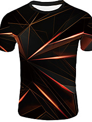 cheap -Men's Daily T-shirt Abstract Graphic Print Short Sleeve Tops Basic Round Neck Orange / Summer