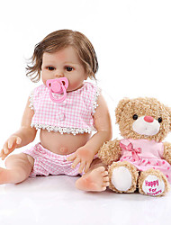 cheap -NPKCOLLECTION 20 inch Reborn Doll Baby Baby Girl Gift Hand Made Artificial Implantation Brown Eyes Full Body Silicone with Clothes and Accessories for Girls' Birthday and Festival Gifts