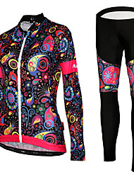 cheap -Women's Long Sleeve Cycling Jersey with Tights Winter Mesh Lycra Polyester Black Purple Yellow Floral Botanical Bike Jersey Tights UV Resistant Breathable Quick Dry Reflective Strips Sports Floral