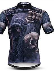 cheap -21Grams 3D Skull Men's Short Sleeve Cycling Jersey - Black Bike Jersey Top Breathable Moisture Wicking Quick Dry Sports Polyester Elastane Mountain Bike MTB Road Bike Cycling Clothing Apparel