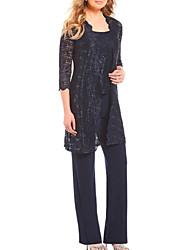 cheap -Pantsuit / Jumpsuit Scoop Neck Floor Length Lace Sleeveless Elegant / Plus Size Mother of the Bride Dress with Lace 2020