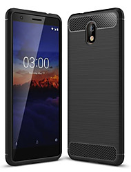 cheap -Case For Nokia Nokia 5.1 / Nokia 3.1 Dustproof Back Cover Solid Colored Soft Carbon Fiber