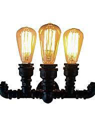 cheap -Antique Wall Lamp Water Pipe Design 3 Lights Industrial Edison Wall Sconces Edison Bulb Night LightingAmerican Simplicity Wall Lamps Black for Hallway Bar Aisle