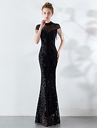 cheap -Mermaid / Trumpet High Neck Floor Length Tulle / Sequined Sparkle / Black Engagement / Formal Evening Dress with Sequin / Tassel 2020