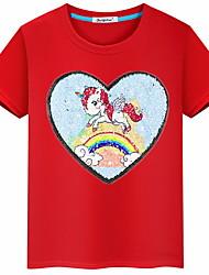 Недорогие -Дети Девочки Классический Геометрический принт С короткими рукавами Футболка Красный