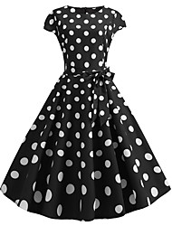 cheap -Audrey Hepburn Country Girl Polka Dots Retro Vintage 1950s Rockabilly Dress Masquerade Women's Costume Black Vintage Cosplay School Office Festival Sleeveless Medium Length A-Line