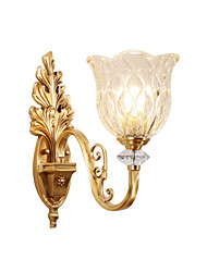 cheap -Glass Wall Lamp Round Shade Antique Brass Wall Sconces with Exquisite Carve Bedroom Living Room Night Light Wall Mount Transparent Shade