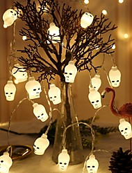 cheap -3m 20 Led Halloween Skull Scary Lights Skeleton Battery Operated Powered For Generic Halloween Party Home Bar Decorations