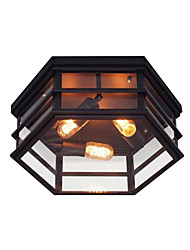 cheap -3-Light Ceiling Light Flush Mount Antique 3 Lights Chandeliers Lights Rustic Glass Ceiling Lighting for Foyer Hallway Balcony Ambient Light Painted Finishes Metal