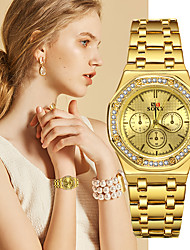 cheap -Women's Quartz Watches Luxury Fashion Black Silver Gold Stainless Steel Quartz Black Gold Silver Casual Watch 1 pc Analog One Year Battery Life