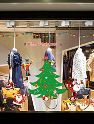 Недорогие -рождественская елка оконная пленка&и украшения наклейки животных / с рисунком праздник / характер / геометрические ПВХ (поливинилхлорид) наклейка окна