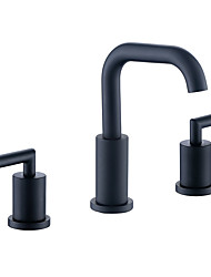 cheap -Bathroom Sink Faucet - Widespread Black Widespread Two Handles Three HolesBath Taps