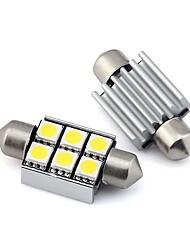 cheap -2pcs Car LED Festoon Light Bulbs 2W 12V SMD 5050 6 LED White Warm White For Dome Light Reading Light Interior Light License Plate Light Clearance Lamp