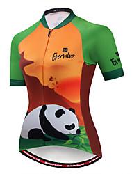 cheap -EVERVOLVE Women's Short Sleeve Cycling Jersey Green / Yellow White Sky Blue Animal Panda Bike Jersey Top Mountain Bike MTB Road Bike Cycling Breathable Moisture Wicking Quick Dry Sports Cotton