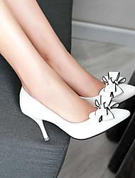 cheap -Women's Heels Stiletto Heel Pointed Toe Bowknot PU(Polyurethane) Vintage / Sweet Spring &  Fall / Spring & Summer White