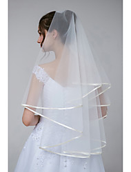 cheap -Two-tier Basic / Sweet Wedding Veil Elbow Veils with Solid Tulle / Classic