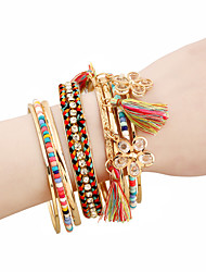 cheap -8pcs Women's Charm Bracelet Layered Petal Cute Alloy Bracelet Jewelry Gold For Daily Work