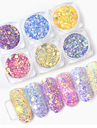 cheap -1 Box Light Color Change Nail Glitter Sequins Ultraviolet Light Gradient Holographic Hexagon Flakes Manicure Nail Art Decoration