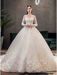 cheap -Ball Gown Bateau Neck Sweep / Brush Train Tulle Long Sleeve Glamorous / Vintage Illusion Sleeve Wedding Dresses with Appliques 2020