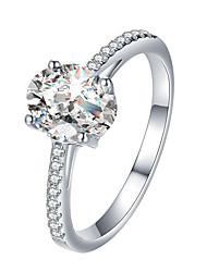 cheap -Women's Ring Engagement Ring Cubic Zirconia 1pc Silver Rhinestone Alloy Simple Classic Vintage Engagement Street Jewelry Classic Cool