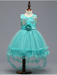 cheap -Princess Asymmetrical Flower Girl Dress - Polyester / Tulle Sleeveless Jewel Neck with Appliques by LAN TING Express