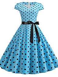 cheap -Women's Red Blue Dress Basic Chinoiserie A Line Swing Polka Dot Color Block V Neck Print S M Slim