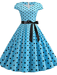 cheap -Women's Basic Chinoiserie A Line Swing Dress - Polka Dot Color Block Print Black Red Light Blue L XL XXL