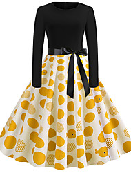 cheap -Audrey Hepburn Country Girl Polka Dots Retro Vintage 1950s Rockabilly Dress Masquerade Women's Costume Yellow Vintage Cosplay School Office Festival Long Sleeve Medium Length A-Line