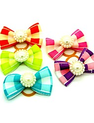 cheap -Dogs Ornaments Hair Accessories For Dog / Cat Bowknot Decoration Plaid / Check Mosaic Metalic Polyester Rubber Rainbow