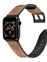 cheap -Genuine Leather Silicone Wristband Watch Band for Apple Watch Series 4/3/2/1 Sport Wrist Strap